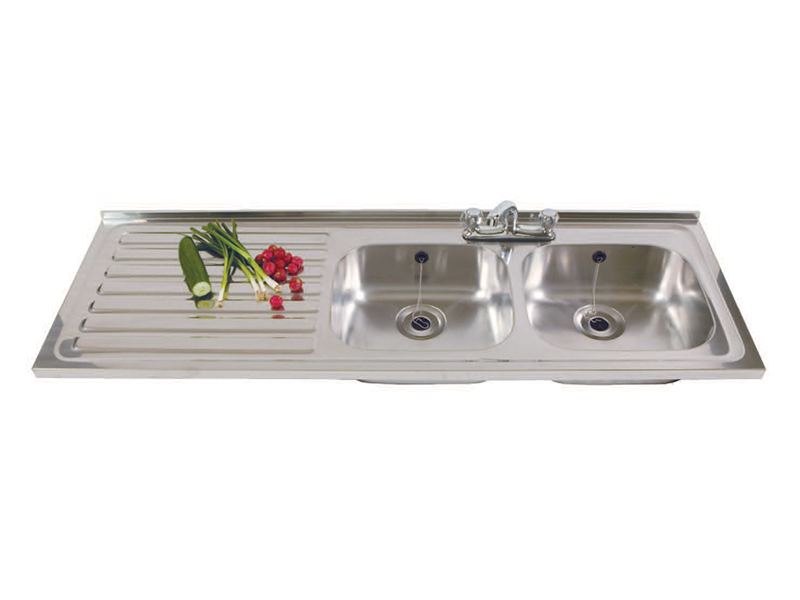 Stainless Steel Sink - Double Bowl, Single Drainer, Left Hand Drainer (DBSD)