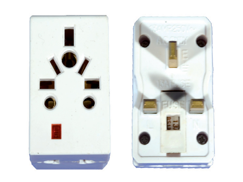 Multi Adaptor with Neon 3 Pin Fitting