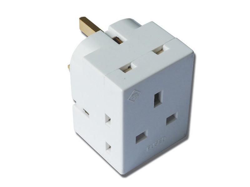 3 Way Block Socket Adaptor - Fused