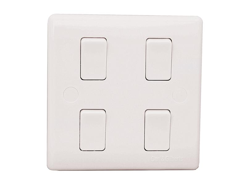 4 Gang, 2 Way Single Plate Switch