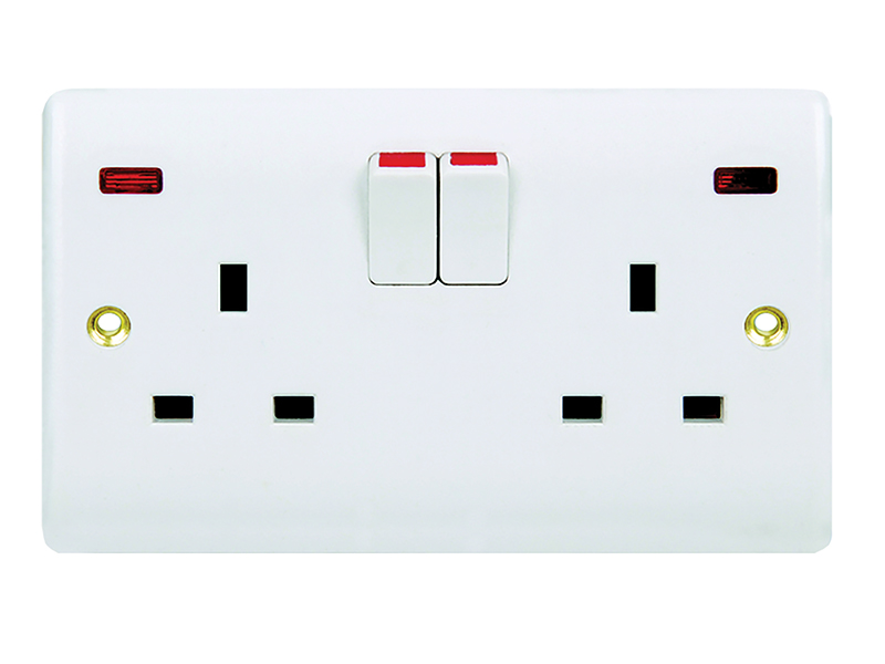 2 Gang Switched Socket Outlet & Neon
